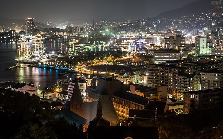 グラバースカイロード展望所からの新世界三大夜景、長崎の夜景、長崎帆船まつり