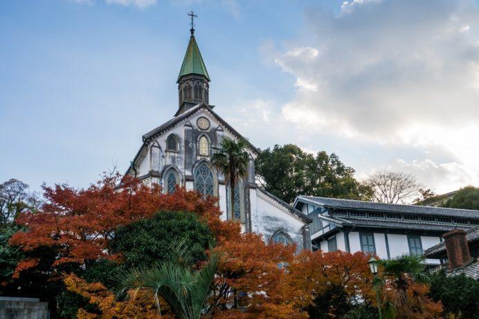 大浦天主堂(長崎市南山手)、世界遺産、国宝と紅葉