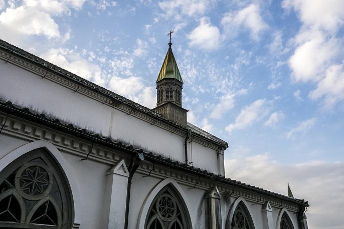 祈念坂(長崎市南山手町)、大浦天主堂の路地裏にある石畳の坂