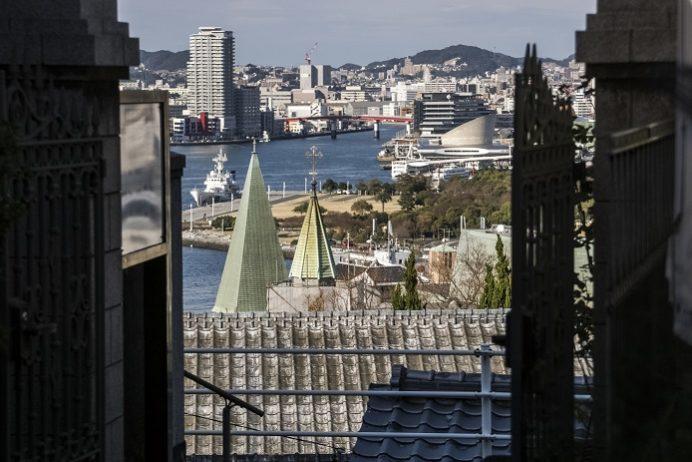 南山手レストハウス正門からの絶景(長崎市)