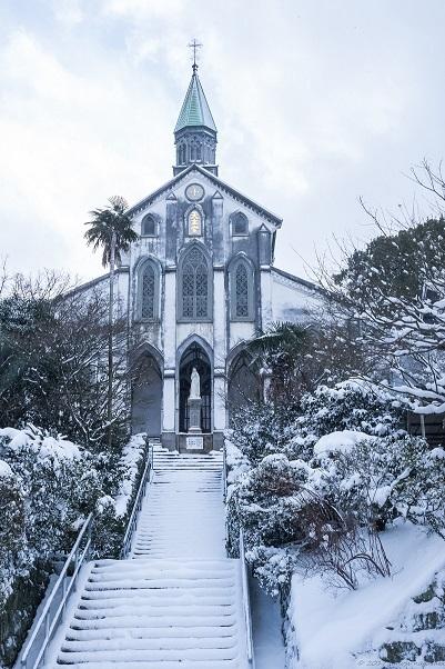 大浦天主堂の雪化粧(長崎市南山手)、世界遺産、国宝