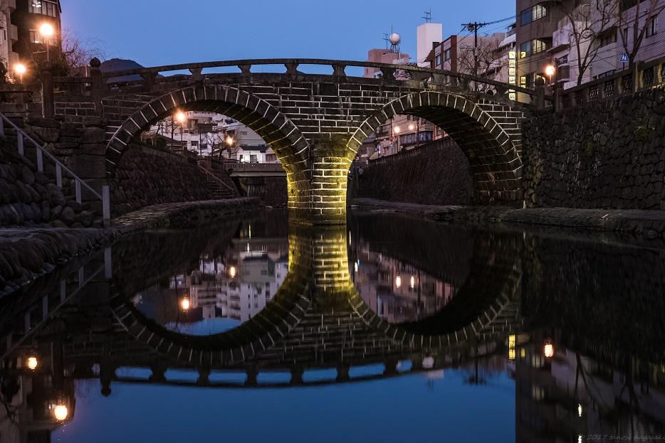 「長崎 眼鏡橋のライトアップ」~川面に映る石橋群【インスタ映え!】