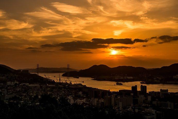 風頭公園(伊良林町)からの夕景