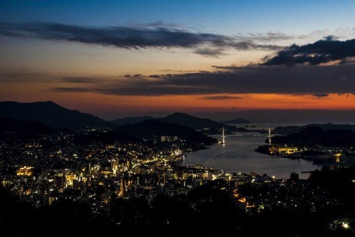 金比羅山・金星観測記念碑からの夕景
