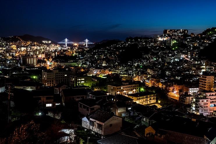 片淵近隣公園・片淵線からの新世界三大夜景認定、長崎の夜景