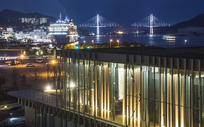 長崎県美術館 屋上庭園からの新世界三大夜景認定、長崎の夜景