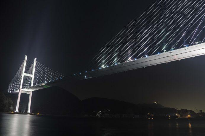 499号線女神バス停前からの長崎の夜景