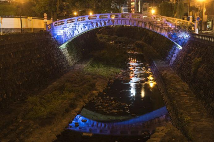 中島川石橋群の一覧橋(ライトアップ)