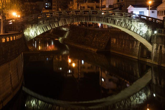 中島川石橋群の東新橋(ライトアップ