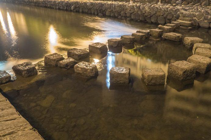 中島川の飛石(夜間)