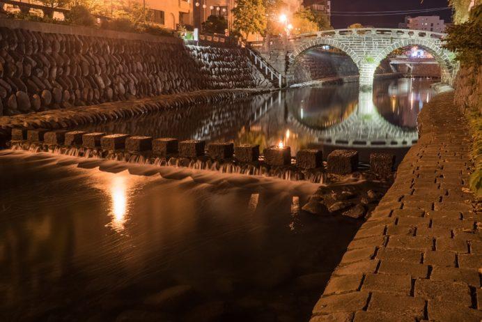 眼鏡橋そばの中島川遊歩道