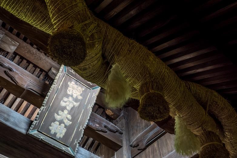 諏訪神社、大門のしめ縄