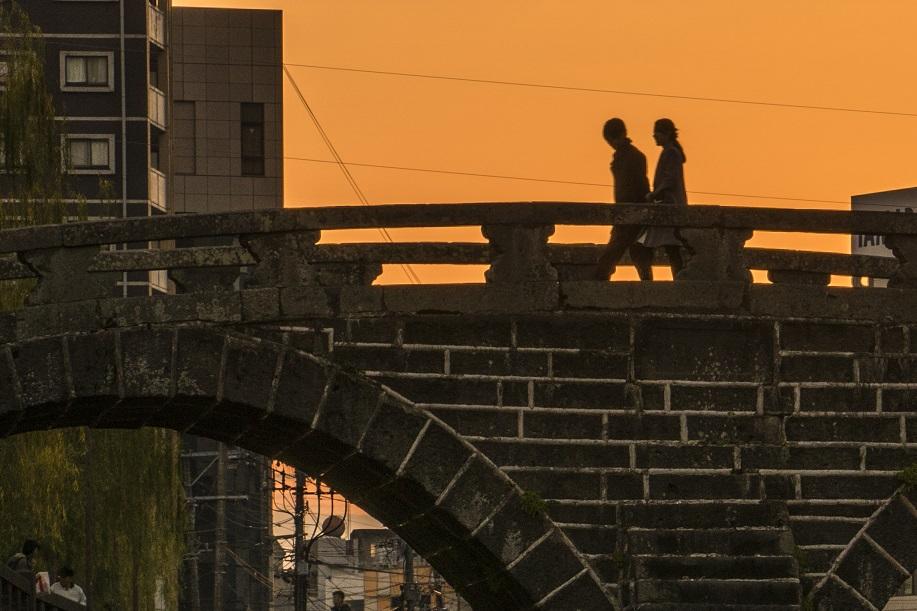 長崎・眼鏡橋の夕景