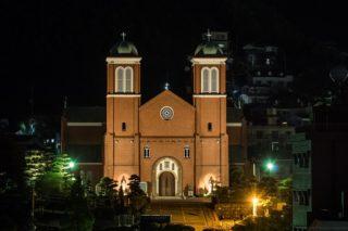 「天主堂の見える丘からの夜景」~光のカーテンを帯びた浦上天主堂