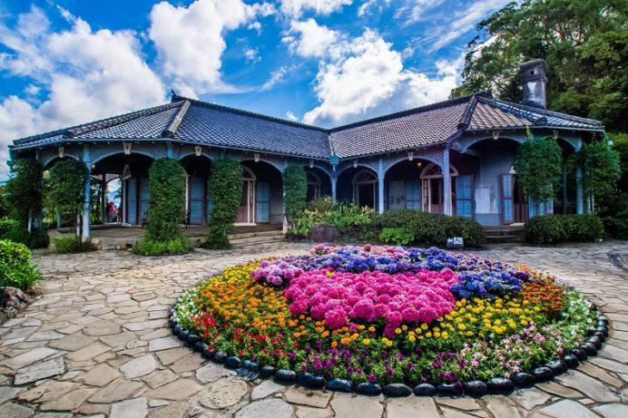 グラバー園(長崎市南山手町)のアジサイ(ながさき紫陽花まつり)、旧グラバー住宅