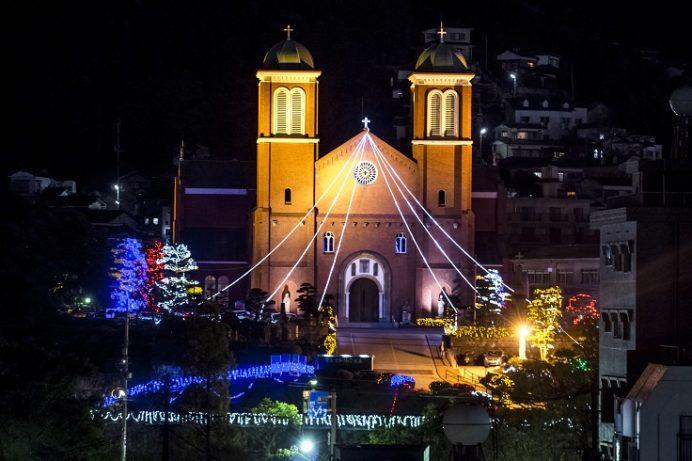 浦上天主堂のクリスマスイルミネーション(長崎市本尾町)