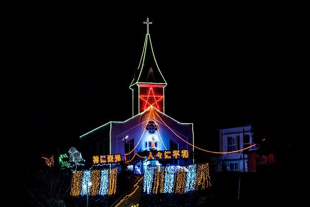 三ツ山教会のクリスマスイルミネーション(長崎市三ツ山町)