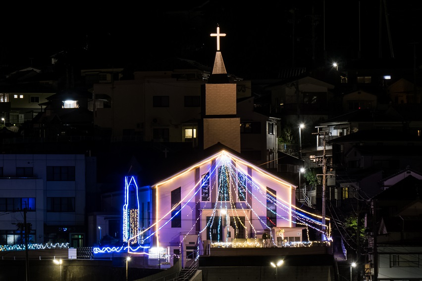 飽の浦教会 (飽の浦町)のクリスマスイルミネーション