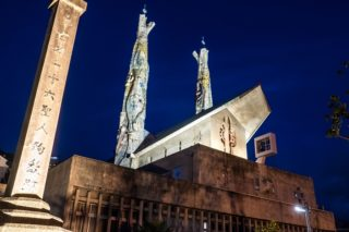 「聖フィリッポ西坂教会」のライトアップ(長崎市西坂公園)