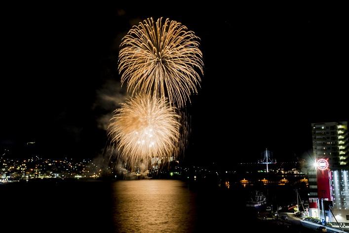 旭大橋からの花火(とっとっと祭り)