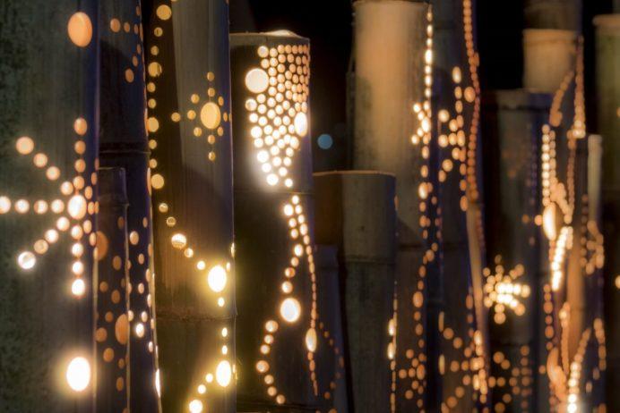 グラバー園のイベント広場での竹のイルミネーション