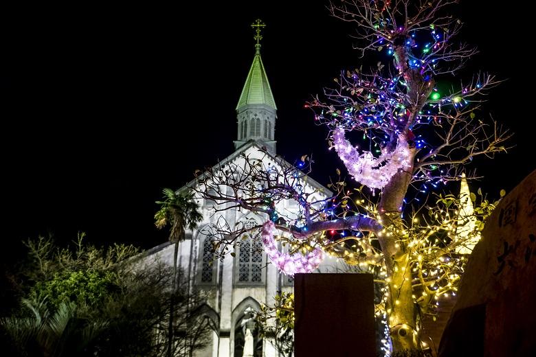 大浦天主堂のクリスマスイルミネーション
