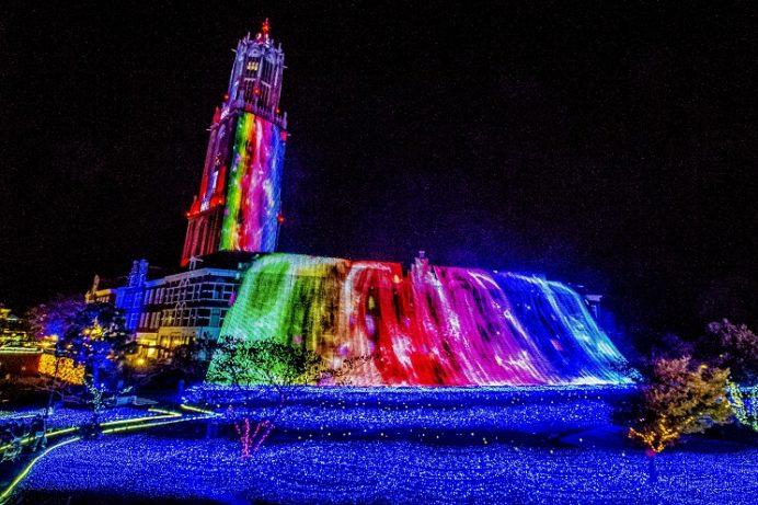 光の滝(ハウステンボスのイルミネーション・光の王国)