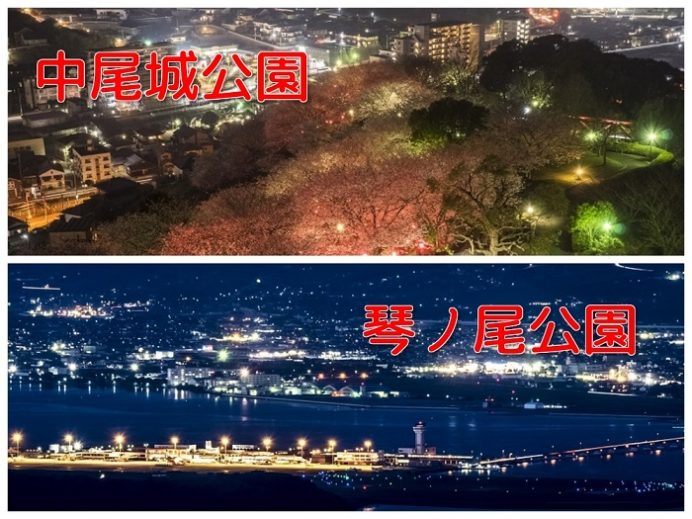 長与の夜景(中尾城、琴ノ尾岳公園)