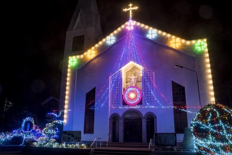 福江教会のクリスマスイルミネーション