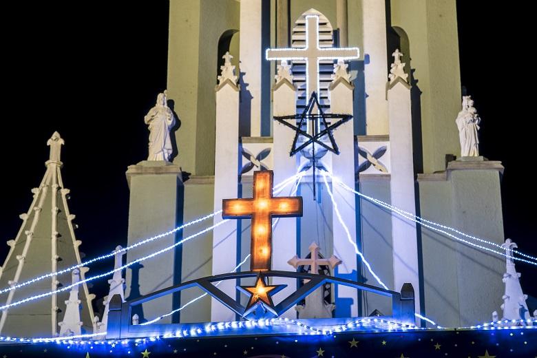 平戸ザビエル記念教会クリスマスイルミネーション(平戸市鏡川町)