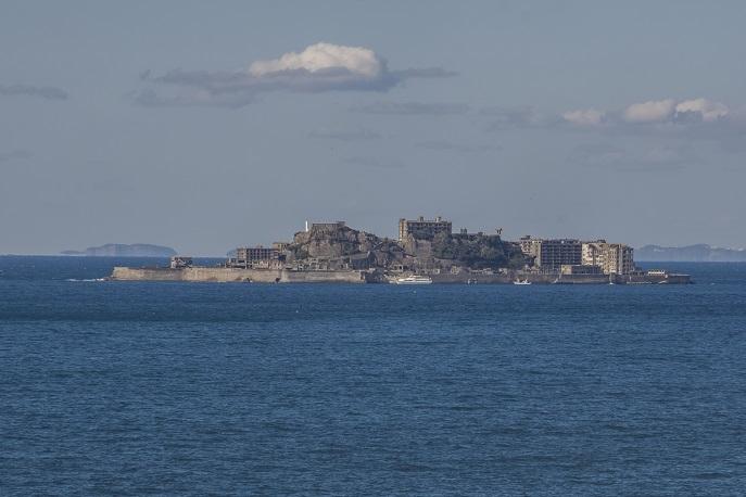 のもざき水仙まつり「北側展望所」からの軍艦島。14:00撮影