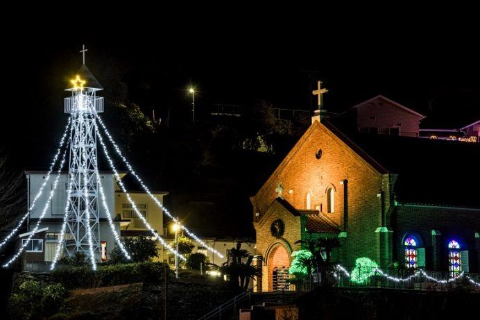 黒崎教会(長崎市外海地区)のクリスマスイルミネーション
