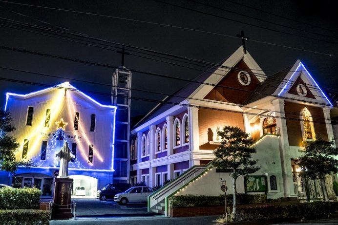 長与教会のクリスマスイルミネーション