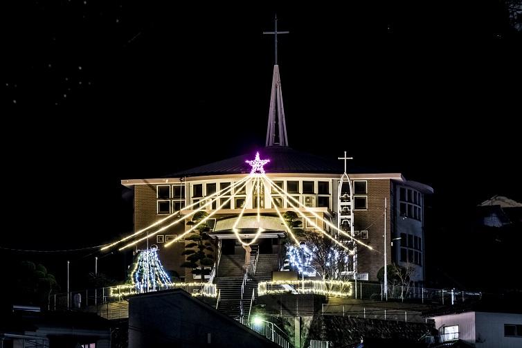 本原教会(長崎市)のクリスマスイルミネーション