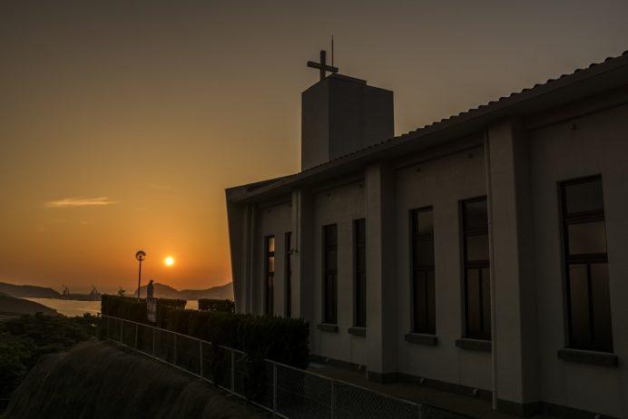 跡次教会(上五島町)からの夕景