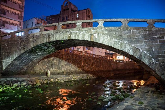 中島川石橋群の袋橋(ライトアップ)