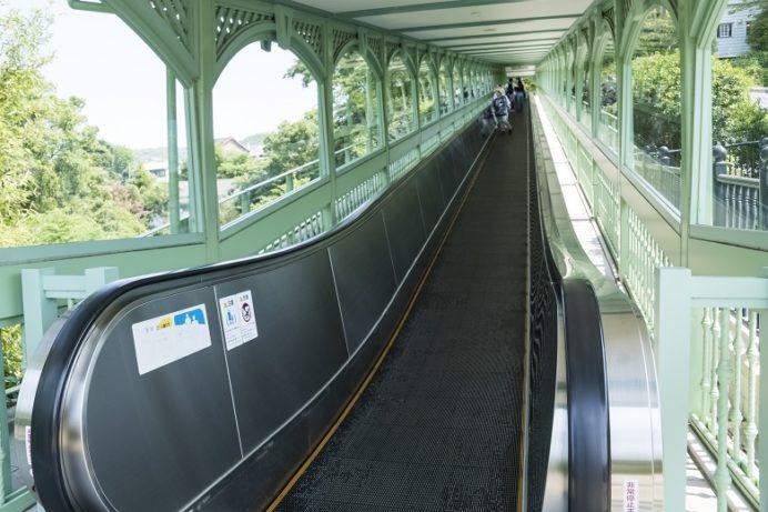 グラバー園(長崎市南山手町)のエスカレーター(動く歩道)
