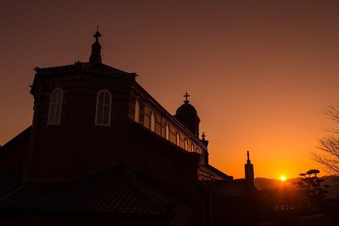 田平天主堂(平戸市田平町)の夕景