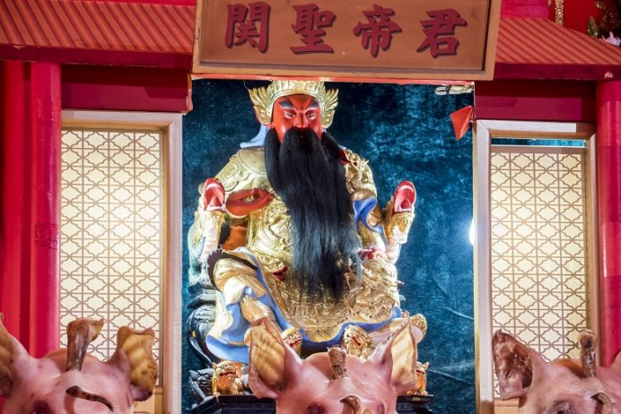 長崎ランタンフェスティバルの豚の関羽(湊公園)