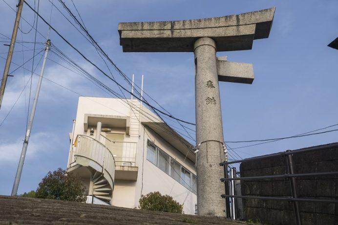 山王神社の一本柱鳥居(片足鳥居)、長崎市の原爆遺構