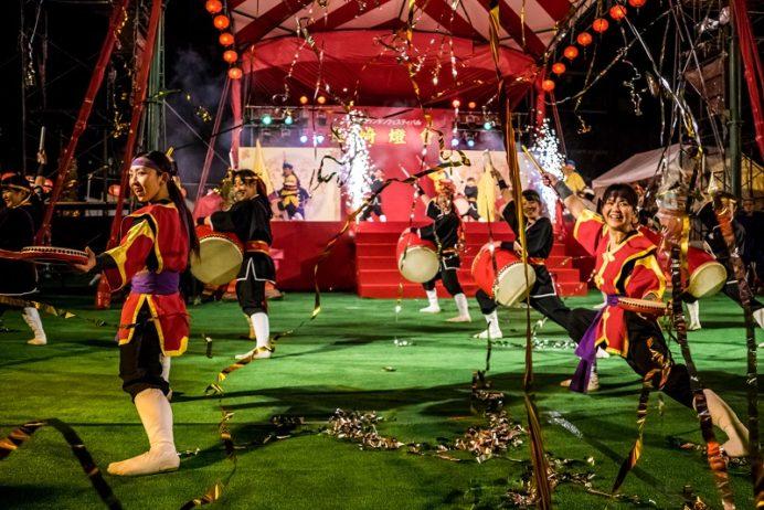 長崎ランタンフェスティバル(琉球國祭り太鼓エイサー、中央公園)