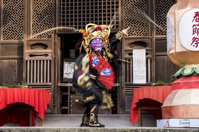 長崎興福寺での変面ショー