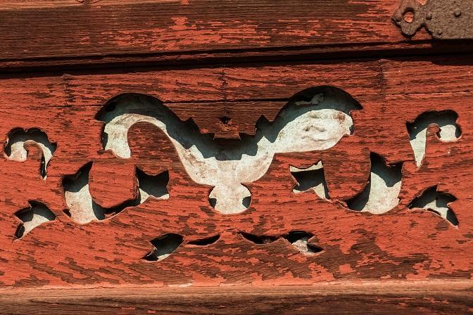崇福寺(長崎市鍛冶屋町)の媽祖堂、コウモリの意匠