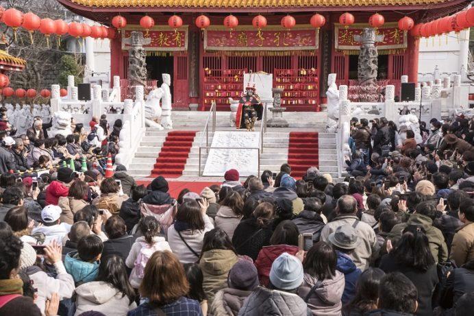 長崎孔子廟での変面ショー(長崎ランタンフェスティバル)