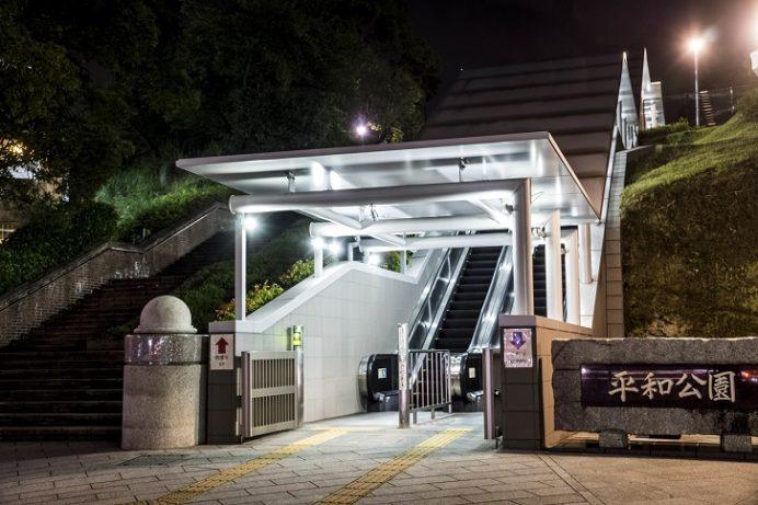 長崎・平和公園・願いのゾーン入口からの夜景