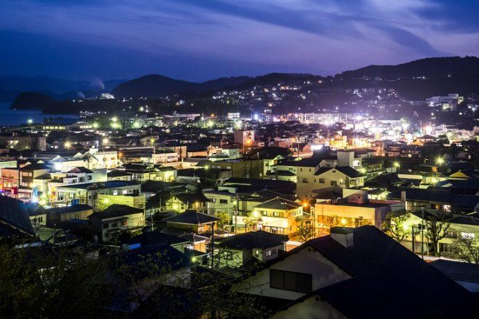 城山公園(長崎県東彼杵郡川棚町)の夜景