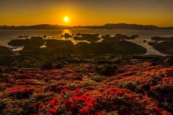 長串山公園(佐世保市鹿町町)のつつじまつり、九十九島の夕日(夕景)