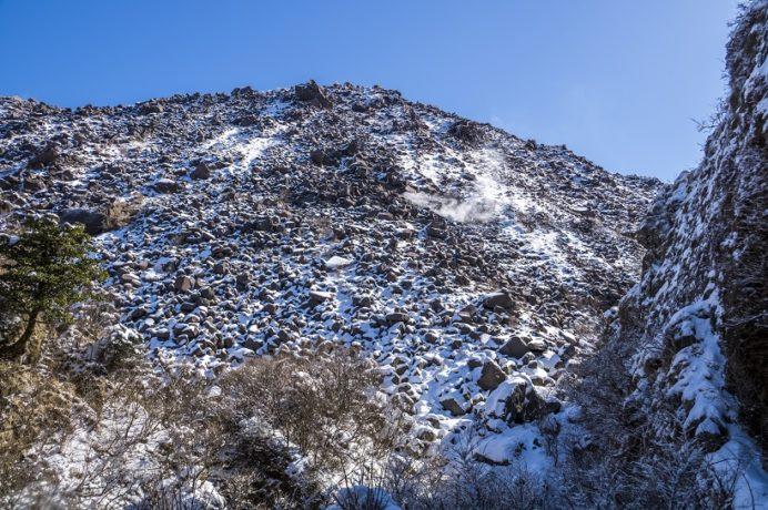 雲仙岳登山道(長崎県島原半島)、霧氷沢の霧氷