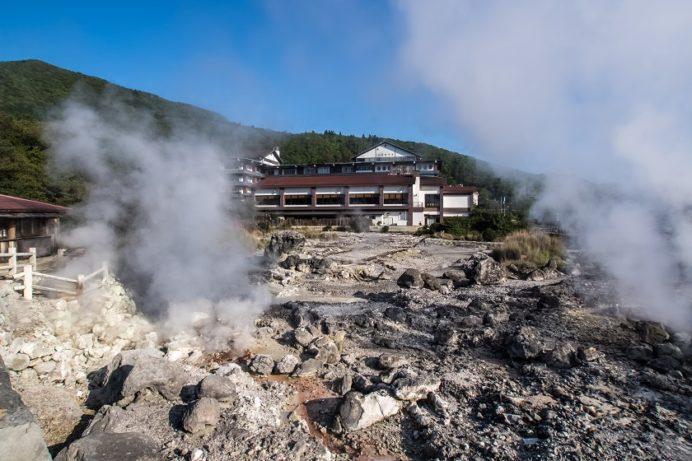 雲仙地獄(長崎県小浜市)の清七地獄 (親子のカエル岩)