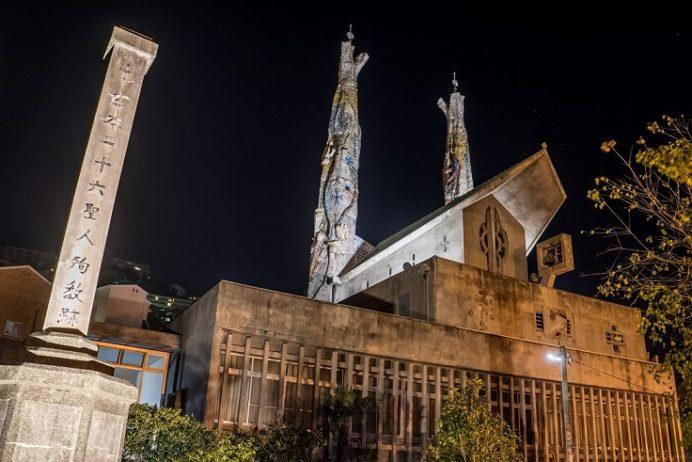 ライトアップされた聖フィリッポ西坂教会(聖フィリッポ・デ・ヘスス教会)